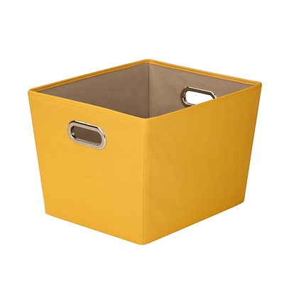 Honey Can Do Medium Decorative Storage Tote with Handles Yellow (SFT-03069)