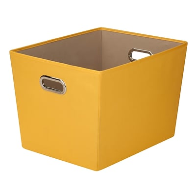 Honey Can Do Large Decorative Storage Tote with Handles Yellow (SFT-03070)