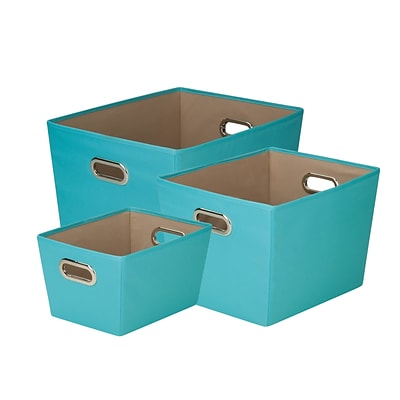 Honey Can Do Decorative Storage Tote Kit with Handles Blue Set of 3 (SFTZ03589)