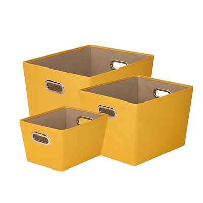 Honey Can Do Decorative Storage Tote Kit with Handles Yellow 3/Set (SFTZ03590)