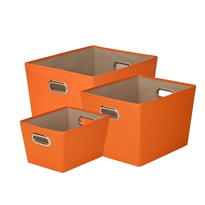 Honey Can Do Decorative Storage Tote Kit with Handles Orange 3/Set (SFTZ03591)