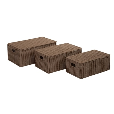 Honey Can Do Paper Rope Basket Kit with Hinged Lids Taupe 3/Set (STO-03557)