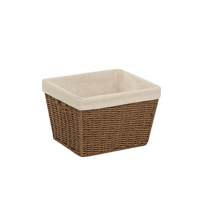 Honey Can Do Small Paper Rope Storage Tote with Liner Brown (STO-03565)