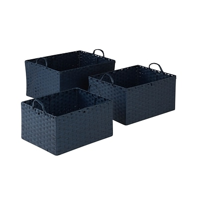 Honey Can Do Paper Rope Baskets with Handles Navy Set of 3 (STO-03739)