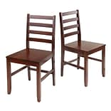 Ladder Back Chairs Antique Walnut, Set of 2