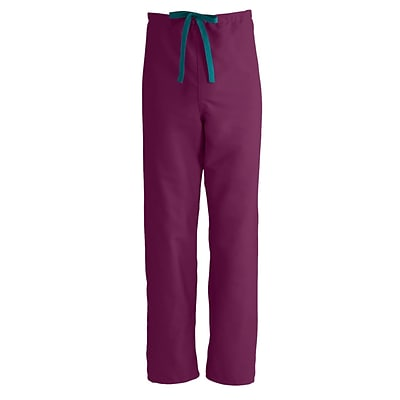 PerforMAX™ Unisex Reversible Drawstring Scrub Pants, Wine, Angelica Color-coding, XL, Regular Length