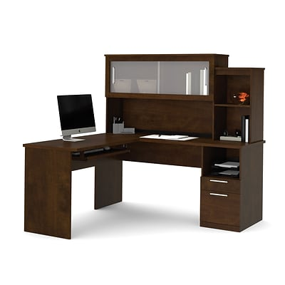 Dayton by Bestar L-Shaped desk in Chocolate