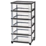 IRIS 5 Drawer Wide Storage Cart Black