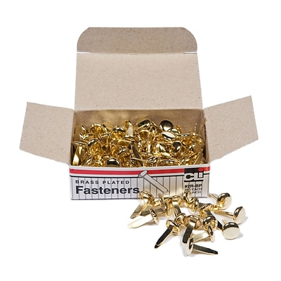 Round Prong Paper Fasteners 1/2 Brass; Box of 100 (CHL2RBP)