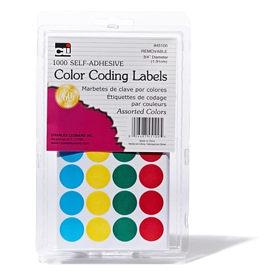 3/4 Color Coding Labels Assorted; 1000 labels (CHL45100)