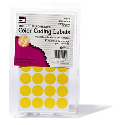 3/4 Color Coding Labels; Yellow, 1000 labels (CHL45140)