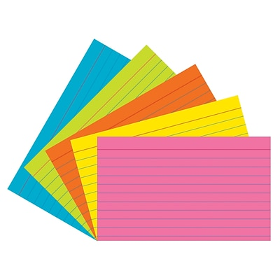 Pacon® Index Cards; 3x5, Ruled, Super Bright Assortment, 75 cards (PAC1726)