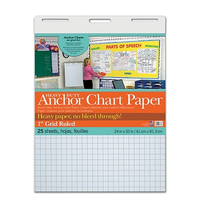 Pacon® Heavy Duty Anchor Chart Paper, 24 x 32, White, 1 Grid Rule, 25 sheets/pad (PAC3373)