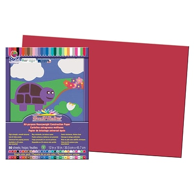 SunWork® Construction Paper; 12x18, Red, 50 ct. (PAC6107)