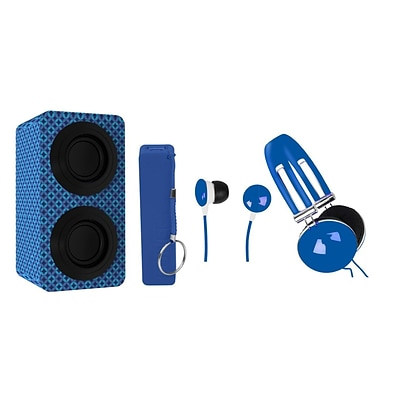 Naxa NAS3061 Portable Bluetooth Stereo Speakers Entertainment Pack, Blue