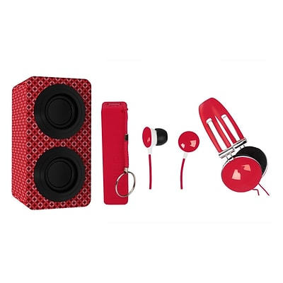 Naxa NAS3061 Portable Bluetooth Stereo Speakers Entertainment Pack, Red