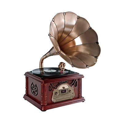 Pyle Classical Trumpet Horn Turntable/Phonograph, AM/FM Radio CD/Cassette/USB/Direct-USB Recording