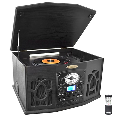Pyle Retro Vintage Turntable with CD/MP3/iPod Player, Black (ptcds7uib)