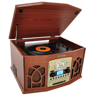 Pyle Retro Vintage Turntable with AM/FM Radio/CD/Cassette/MP3 Player (ptcds7uiw)