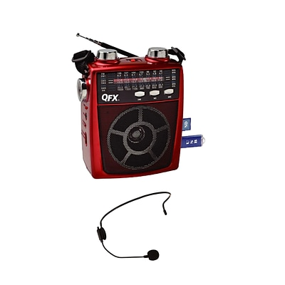QFX CS170 Portable PA Speaker System, Red