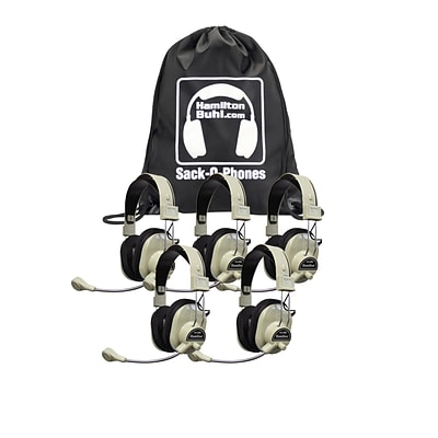 HamiltonBuhl SOP-HA66M Deluxe Multimedia Headphones with Mic, White