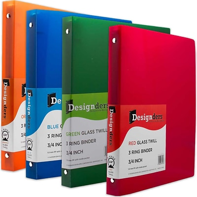JAM Paper® Assorted .75 Inch Plastic 3 Ring Binders, Red, Green, Blue, Orange, 4/Pack (750T1RGBOR)
