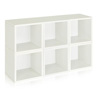 Way Basics zBoard Recycled Paper 6 Modular Storage Cube, White, 6/Pack