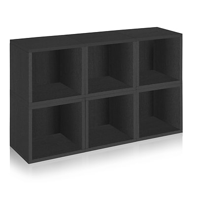Way Basics zBoard Recycled Paper 6 Modular Storage Cube, Black, 6/Pack