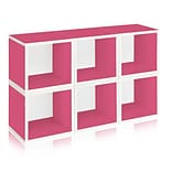 Way Basics zBoard Recycled Paper 6 Modular Storage Cube, Pink, 6/Pack