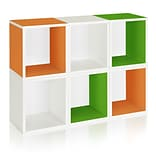 Way Basics zBoard Recycled Paper 6 Modular Cubes Plus Storage Cube, Green/Orange/White, 6/Pack