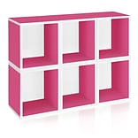 Way Basics zBoard Recycled Paper 6 Modular Cubes Plus Storage Cube, Pink, 6/Pack