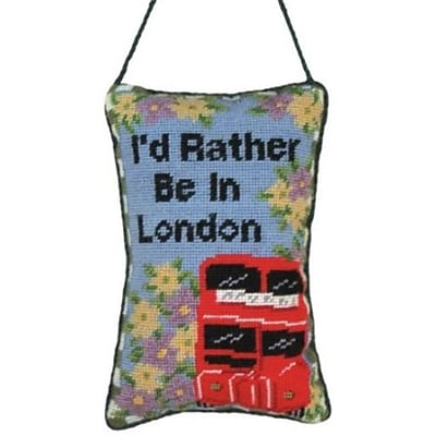 123 Creations Id Rather Be in London Petit-Point Doorknob Hanger (CREATE794)