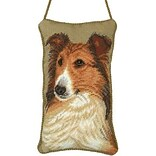 123C Petit Point Knob Hanger 5x8 Sheltie