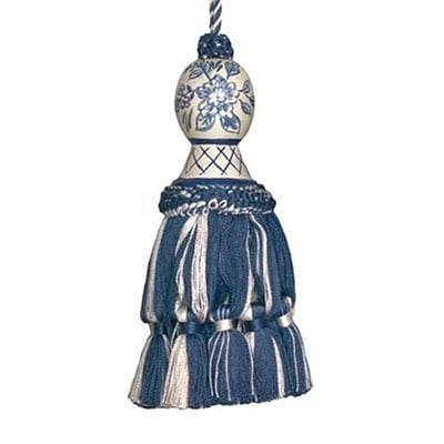 123 Creations Hand Painted Tassel; 5L, Provencal Blue and Toile (CREATE747)