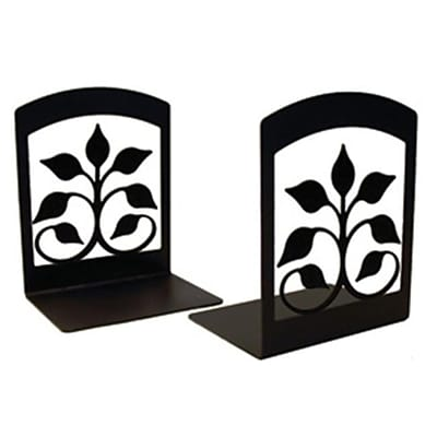 Village Wrought Iron Book Ends; Leaf Fan, 5 W x 6-1/4 H x 3-1/2 D (VW011)