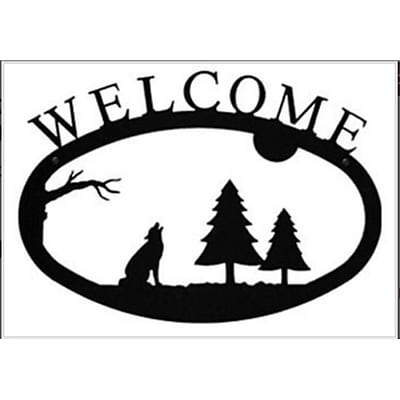 Village Wrought Iron WEL-145-L 17.5W x 12.5H Black Large Timber Wolf Welcom Sign (VW1571)