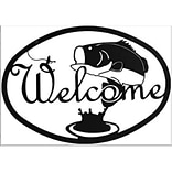 Village Bass Fishing Welcome Sign 12.25x8