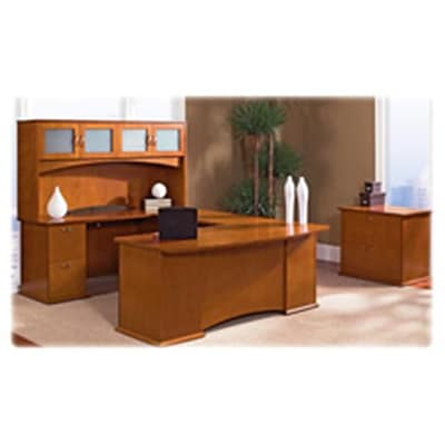 Lorell LLR90005 Bow Front Desks, Left Pedestal, 72in.x34in.x29in., Honey Cherry
