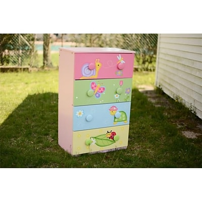 Teamson Girls Magic Garden Room Collection 4 Drawer 8 Handle Chest; 23.63Lx15.75Wx40.25H (TMN530)