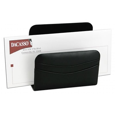 Dacasso A1008 Hand-Tucked Genuine Top-Grain Leather Letter Holder; Black (DCSS126)