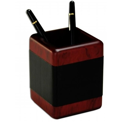Dacasso Wood and Leather Pencil Cup (DCSS072)