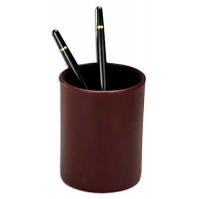 Dacasso Leather Round Pencil Cup; Burgundy, 4.75L x 3.625W x 4.875H (DCSS199)
