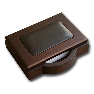 Dacasso Memo Holder; 4 x 6, Wood and Leather (DCSS082)