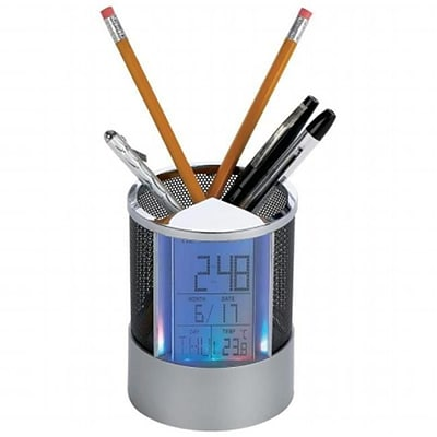 Mitaki-Japan Pen & Pencil Holder with Clock/Calendar/Timer/Alarm/Temperature/Colored LED Lights