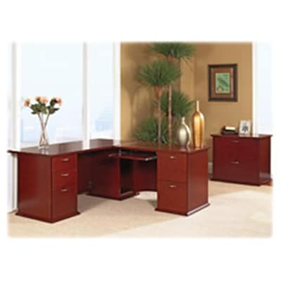Lorell Bow Front Desk, Double Pedestal, 72 in x 34 in x 29 in, Mahogany
