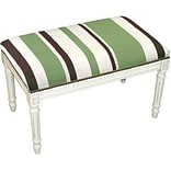 123C Wool Grn Striped Upholstered Bench Wht
