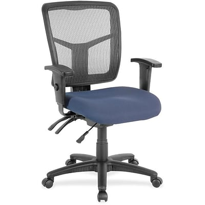 Lorell Swivel Midback Computer and Desk Office Chair, Adjustable Arms, Blue (RTL156634)