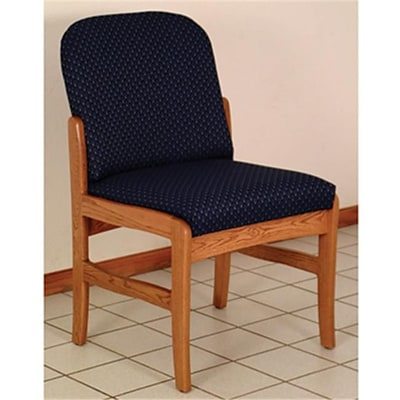 Wooden Mallet Prairie Fabric Armless Guest Chair in Light Oak; Watercolor Blue, WDNM432