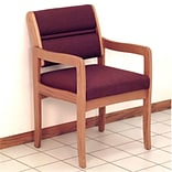 Fabric Guest Chair in Med Oak Burgundy