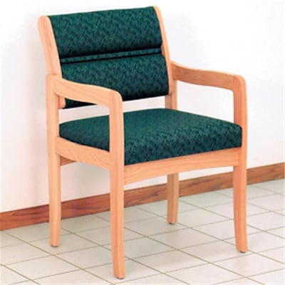 Wooden Mallet Valley Fabric Guest Chair in Light Oak; Leaf Green, WDNM867